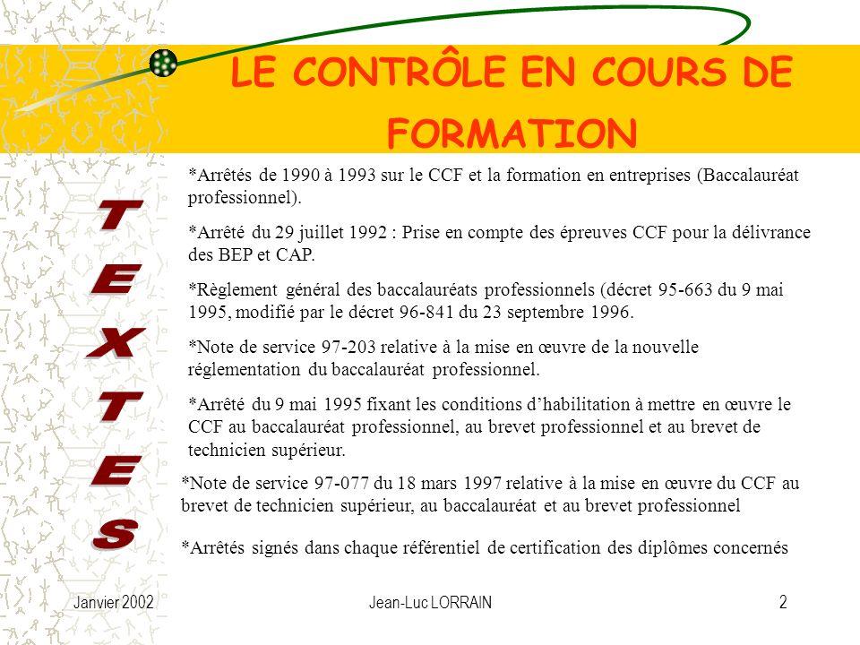 Janvier 2002Jean-Luc LORRAIN3 LE CONTRÔLE EN COURS DE FORMATION Le Contrôle en Cours de Formation est mal conceptualisé.