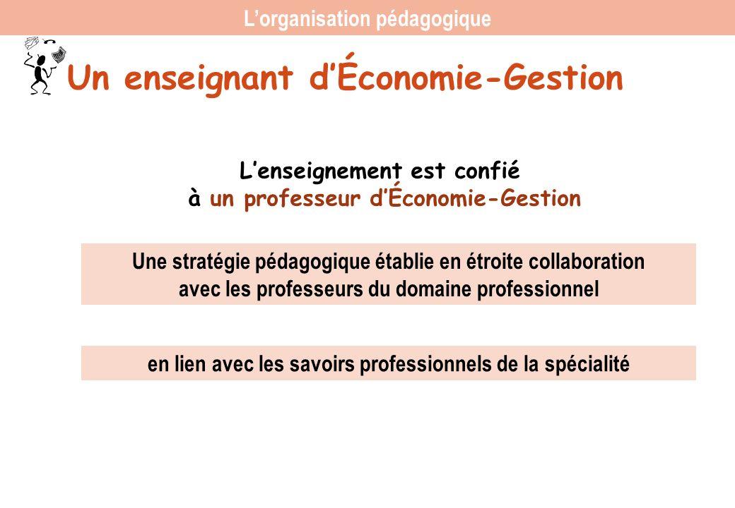 Un enseignant dÉconomie-Gestion Lenseignement est confié à un professeur dÉconomie-Gestion Une stratégie pédagogique établie en étroite collaboration