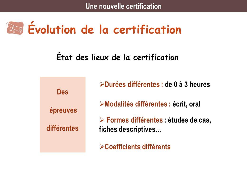 Évolution de la certification État des lieux de la certification Des épreuves différentes Durées différentes : de 0 à 3 heures Modalités différentes :