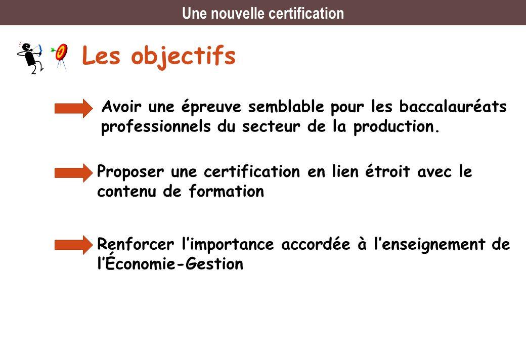 Les objectifs Avoir une épreuve semblable pour les baccalauréats professionnels du secteur de la production. Proposer une certification en lien étroit