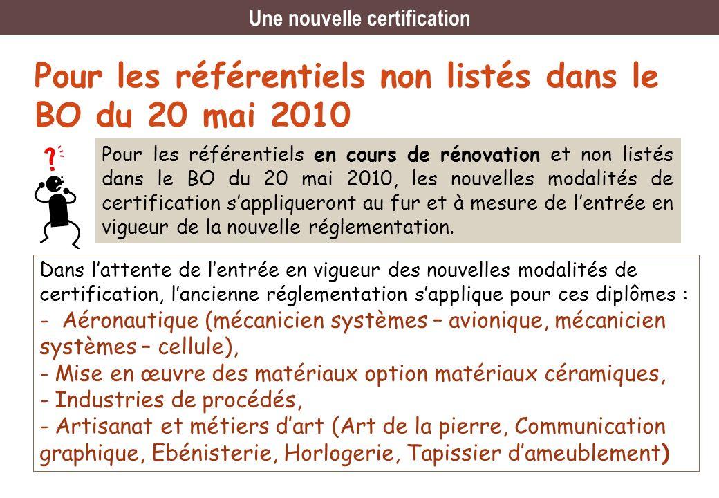 Pour les référentiels non listés dans le BO du 20 mai 2010 Dans lattente de lentrée en vigueur des nouvelles modalités de certification, lancienne rég