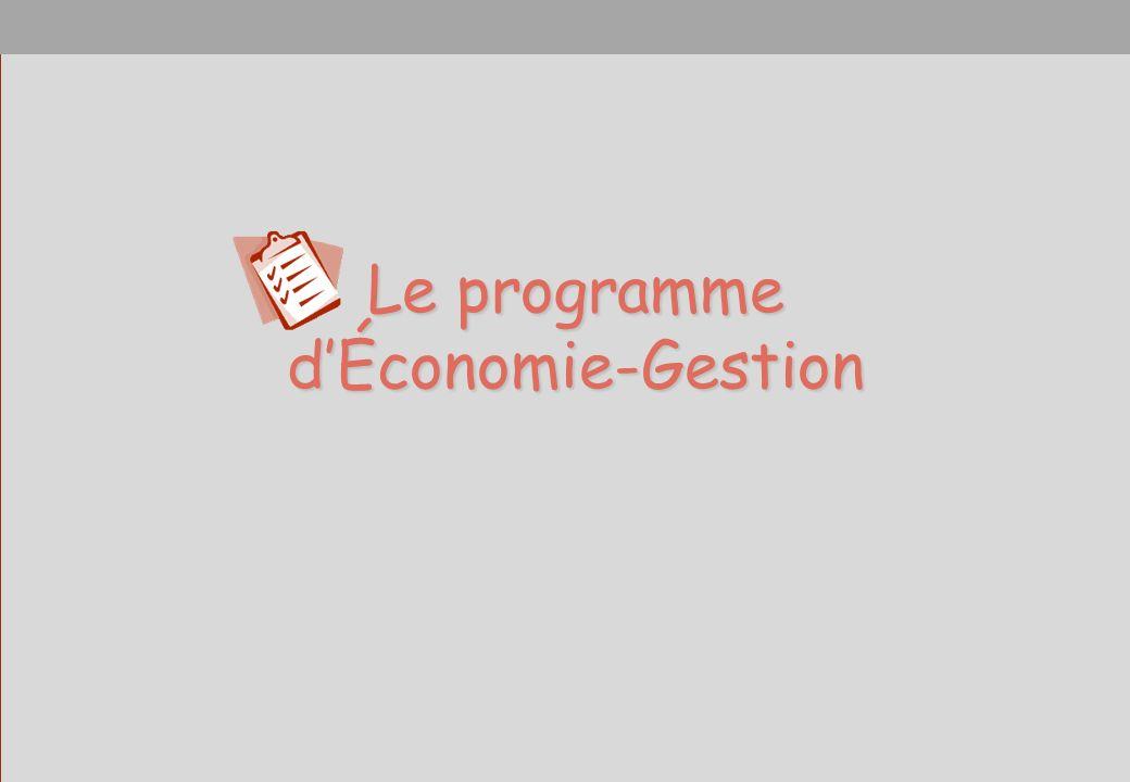 Le programme dÉconomie-Gestion