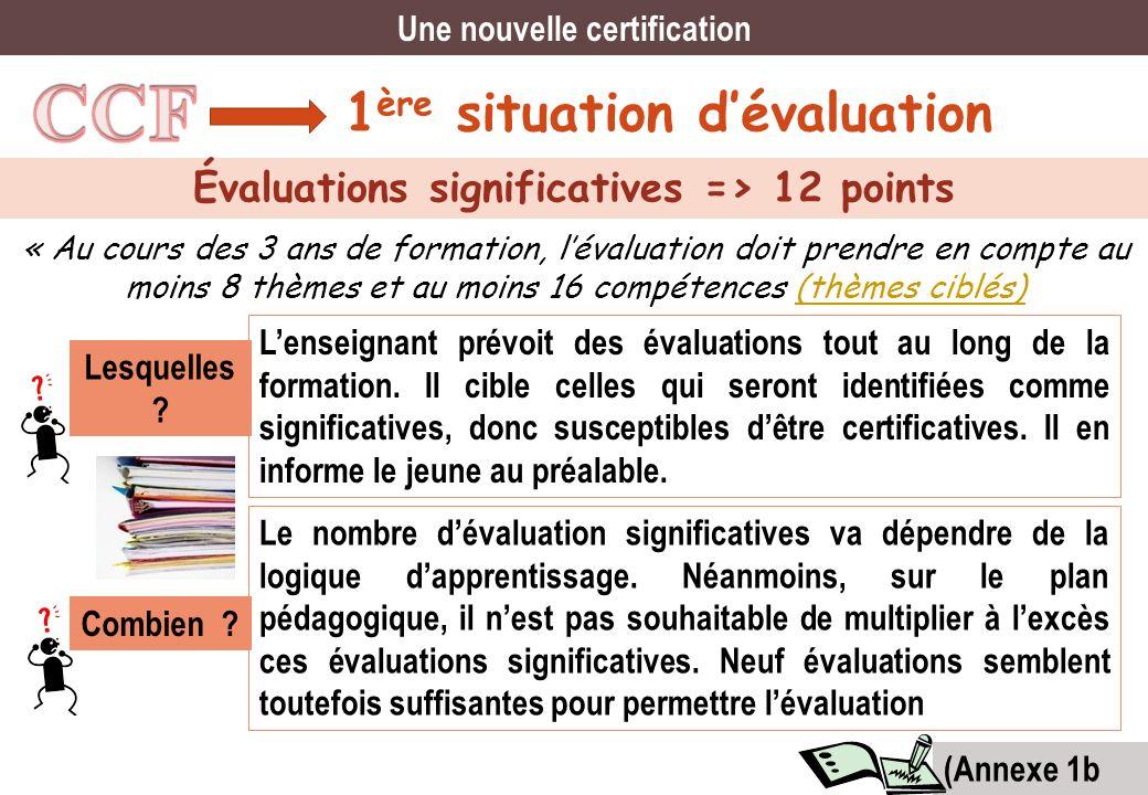 1 ère situation dévaluation Évaluations significatives => 12 points « Au cours des 3 ans de formation, lévaluation doit prendre en compte au moins 8 t