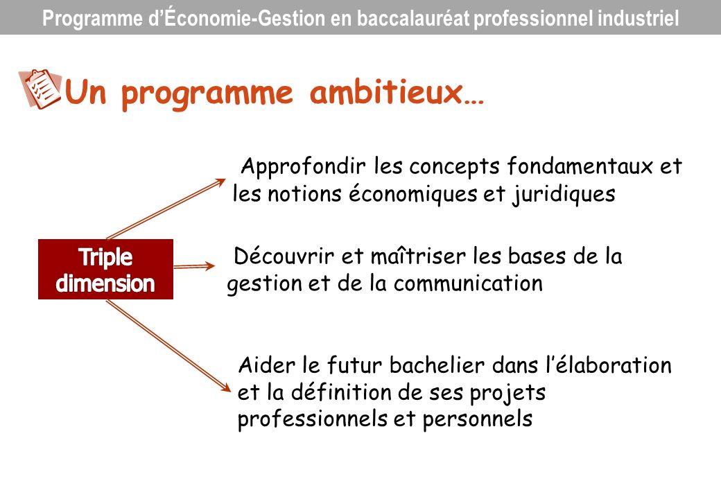 Un programme ambitieux… Approfondir les concepts fondamentaux et les notions économiques et juridiques Découvrir et maîtriser les bases de la gestion