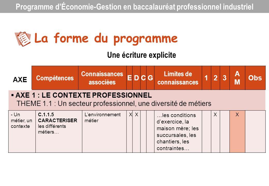 AXE Compétences Connaissances associées EDCG Limites de connaissances 123 AMAM Obs AXE 1 : LE CONTEXTE PROFESSIONNEL THEME 1.1 : Un secteur profession