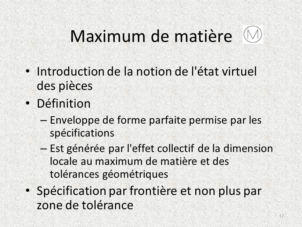 Maximum de matière Introduction de la notion de l'état virtuel des pièces Définition – Enveloppe de forme parfaite permise par les spécifications – Es