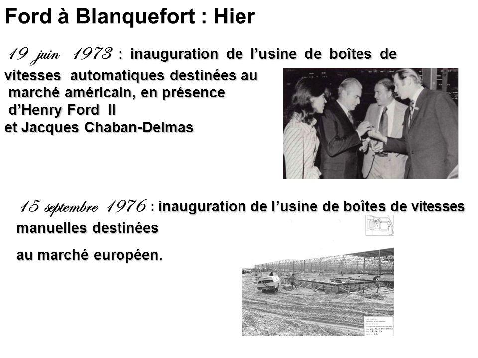 : inauguration de lusine de boîtes de vitesses automatiques destinées au 19 juin 1973 : inauguration de lusine de boîtes de vitesses automatiques destinées au marché américain, en présence marché américain, en présence dHenry Ford II dHenry Ford II et Jacques Chaban-Delmas Ford à Blanquefort : Hier inauguration de lusine de boîtes de vitesses manuelles destinées 15 septembre 1976 : inauguration de lusine de boîtes de vitesses manuelles destinées au marché européen.