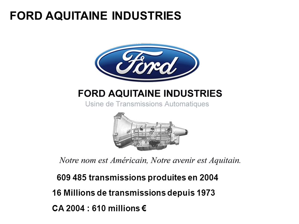FORD AQUITAINE INDUSTRIES 609 485 transmissions produites en 2004 16 Millions de transmissions depuis 1973 CA 2004 : 610 millions