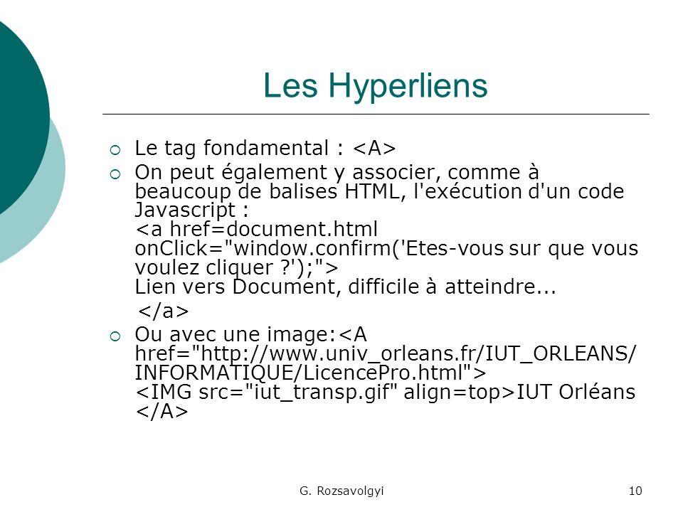 G. Rozsavolgyi10 Les Hyperliens Le tag fondamental : On peut également y associer, comme à beaucoup de balises HTML, l'exécution d'un code Javascript
