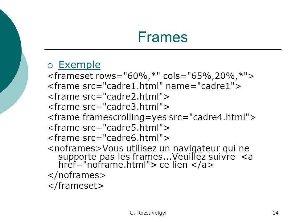 G. Rozsavolgyi14 Frames Exemple Vous utilisez un navigateur qui ne supporte pas les frames...Veuillez suivre ce lien