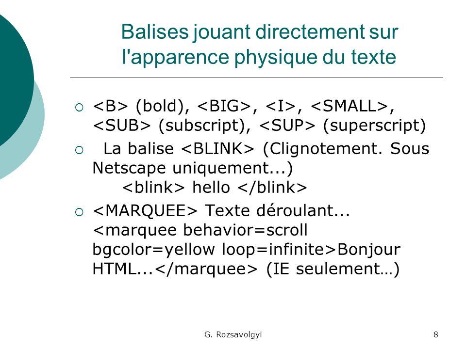 G. Rozsavolgyi8 Balises jouant directement sur l'apparence physique du texte (bold),,,, (subscript), (superscript) La balise (Clignotement. Sous Netsc