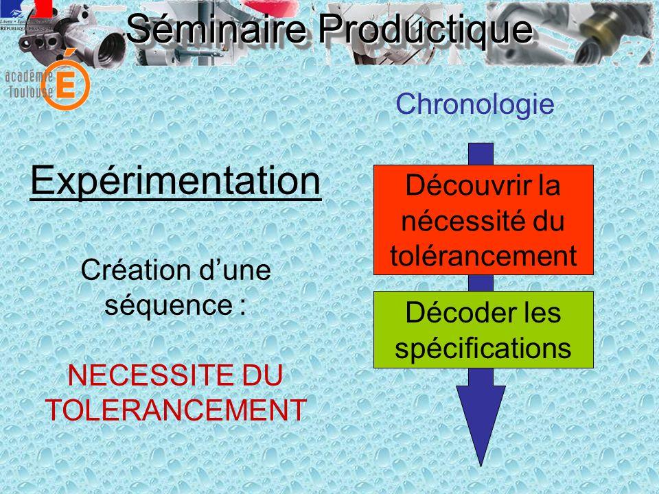 Séminaire Productique Expérimentation Création dune séquence : NECESSITE DU TOLERANCEMENT Chronologie Décoder les spécifications Découvrir la nécessit