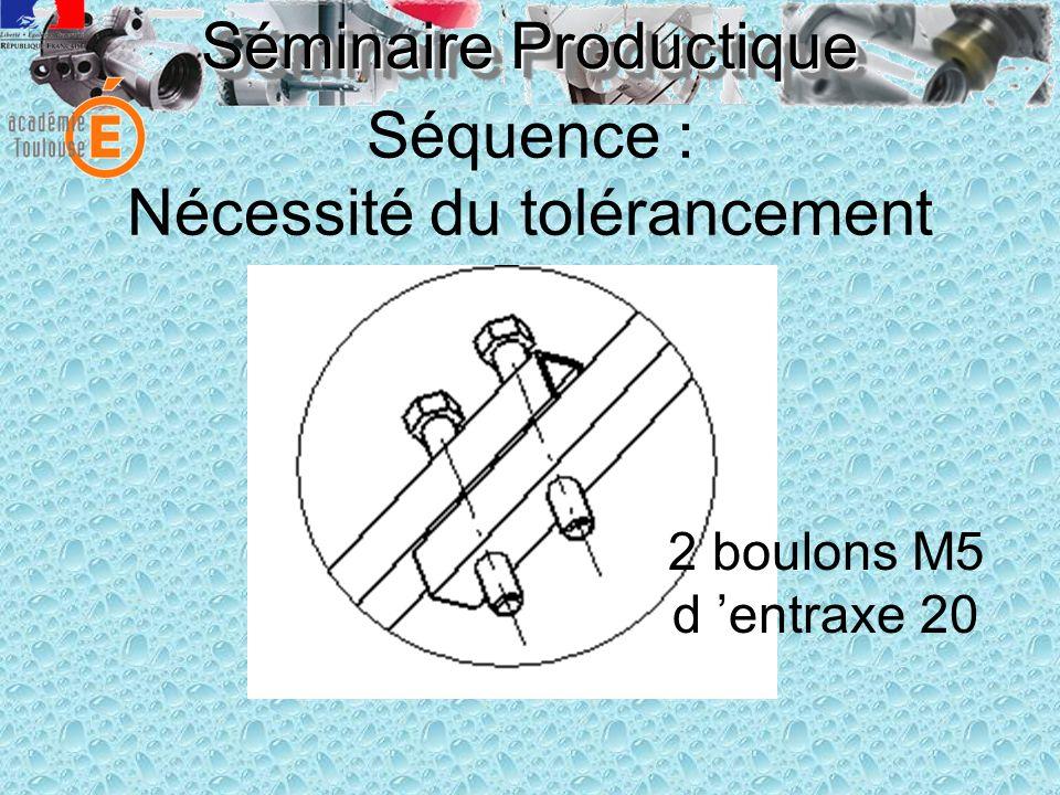 Séminaire Productique Séquence : Nécessité du tolérancement 2 boulons M5 d entraxe 20