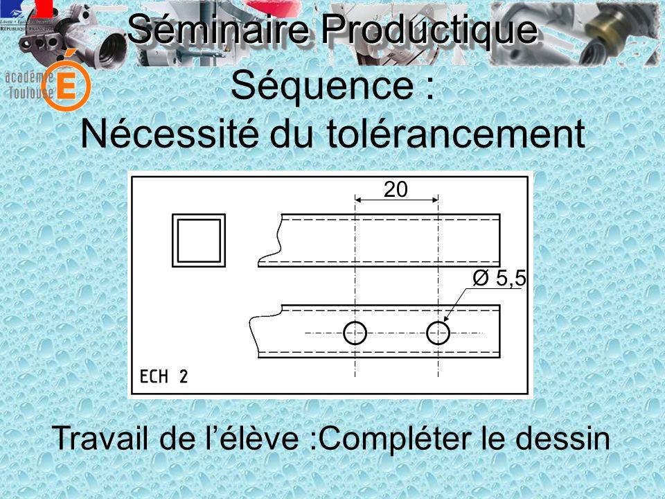 Séminaire Productique Séquence : Nécessité du tolérancement Livraison à chaque élève : Pièces CONFORMES à leur dessin