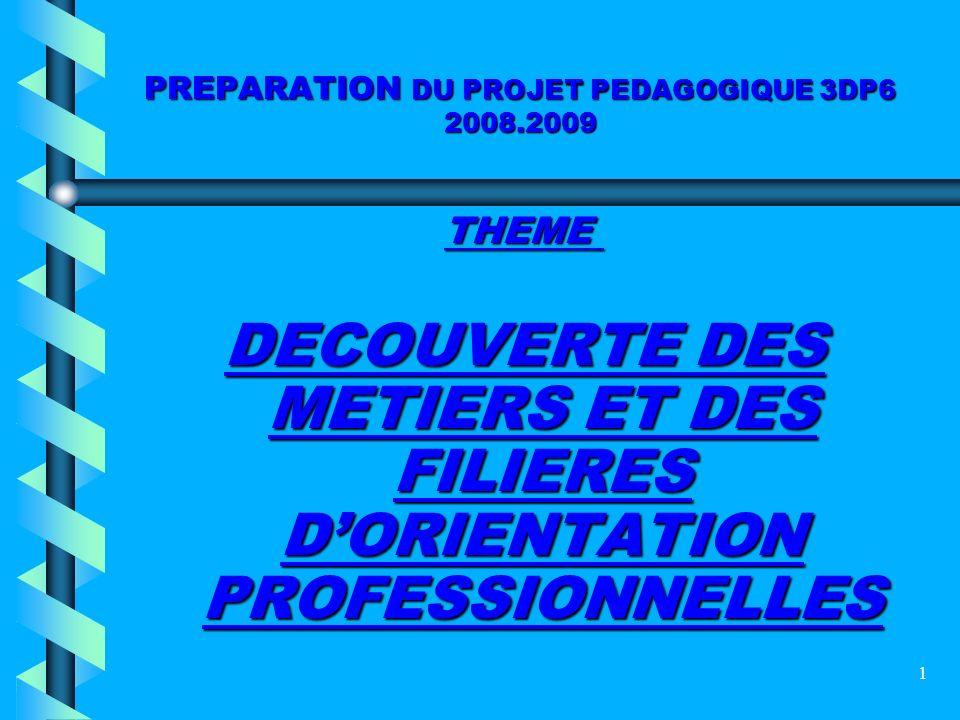 1 PREPARATION DU PROJET PEDAGOGIQUE 3DP6 2008.2009 THEME DECOUVERTE DES METIERS ET DES FILIERES DORIENTATION PROFESSIONNELLES