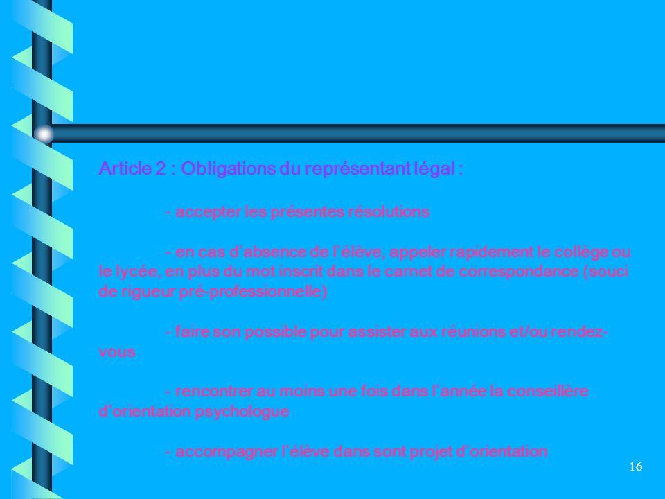 16 Article 2 : Obligations du représentant légal : - accepter les présentes résolutions - en cas dabsence de lélève, appeler rapidement le collège ou