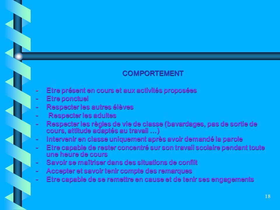 18 COMPORTEMENT - Etre présent en cours et aux activités proposées - Etre ponctuel - Respecter les autres élèves - Respecter les adultes - Respecter l