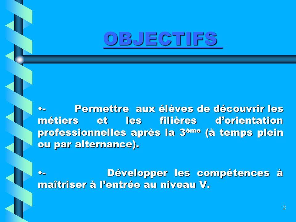 2 OBJECTIFS - Permettre aux élèves de découvrir les métiers et les filières dorientation professionnelles après la 3 ème (à temps plein ou par alterna