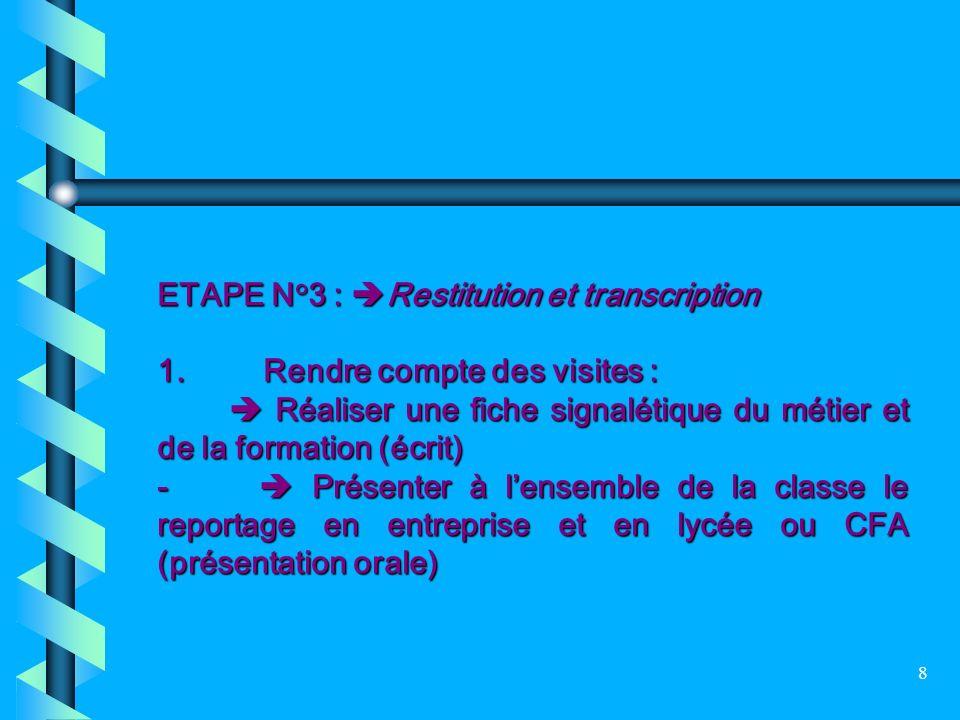 8 ETAPE N°3 : Restitution et transcription 1. Rendre compte des visites : Réaliser une fiche signalétique du métier et de la formation (écrit) Réalise