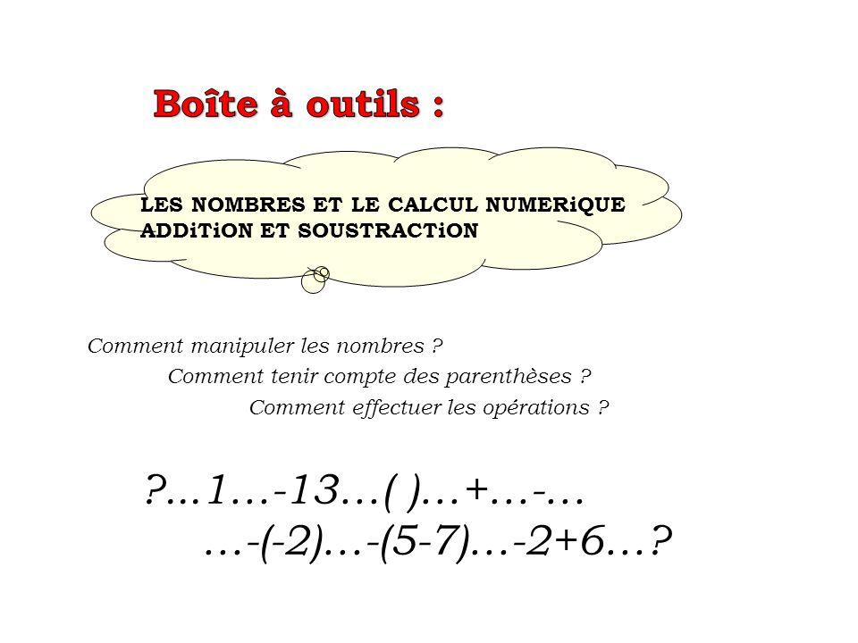 doù la règle à retenir : en fait il faut supprimer les parenthèses à condition de changer les signes 5 - ( 3 - 1) = 5 - 3 + 1 = 3 2 ème solution : suppression de la parenthèse cest comme soustraire chaque élément du paquet 5 - 3 - ( - 1 ) puis après application de la règle des signes 5 - 3 + 1 = 3 soustraire un paquet 5 - ( 3 - 1) 1 ère solution : priorité à la parenthèse 5 - 2 = 3 doù la règle à retenir : en fait il suffit de supprimer les parenthèses 2 + ( 5 - 3 ) = 2 + 5 – 3 = 4 2 ème solution : suppression de la parenthèse cest comme additionner chaque élément du paquet« 2 + 5 + ( - 3 ) puis après application de la règle des signes 2 + 5 - 3 = 4 additionner un « paquet » 2 + ( 5 - 3 ) 1 ère solution : priorité à la parenthèse 2 + 2 = 4