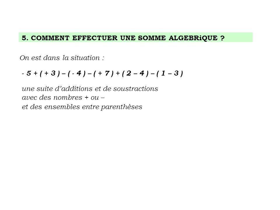 5. COMMENT EFFECTUER UNE SOMME ALGEBRiQUE ? On est dans la situation : - 5 + ( + 3 ) – ( - 4 ) – ( + 7 ) + ( 2 – 4 ) – ( 1 – 3 ) une suite dadditions
