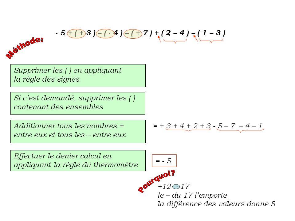 Supprimer les ( ) en appliquant la règle des signes - 5 + ( + 3 ) – ( - 4 ) – ( + 7 ) + ( 2 – 4 ) – ( 1 – 3 ) = - 5 + 3 + 4 – 7 + ( 2 – 4 ) – ( 1 – 3