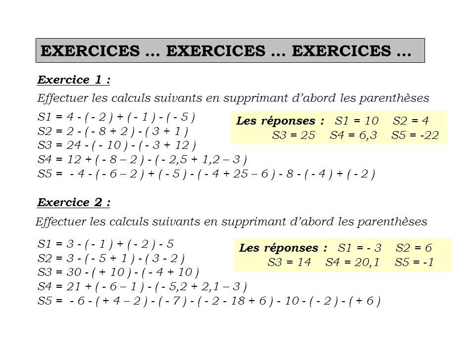 EXERCICES … EXERCICES … EXERCICES … Exercice 1 : Effectuer les calculs suivants en supprimant dabord les parenthèses S1 = 4 - ( - 2 ) + ( - 1 ) - ( -
