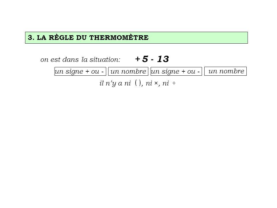 on est dans la situation: un signe + ou - un nombre + 5 - 13 il ny a ni ( ), ni, ni un signe + ou - 3. LA RÈGLE DU THERMOMÈTRE