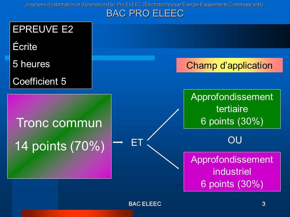 Journées dinformation et danimation Bac Pro ELEEC (Électrotechnique Énergie Équipements Communicants). BAC PRO ELEEC BAC ELEEC3 EPREUVE E2 Écrite 5 he