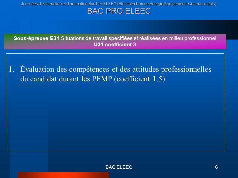 Journées dinformation et danimation Bac Pro ELEEC (Électrotechnique Énergie Équipements Communicants). BAC PRO ELEEC BAC ELEEC6 Sous-épreuve E31 Situa