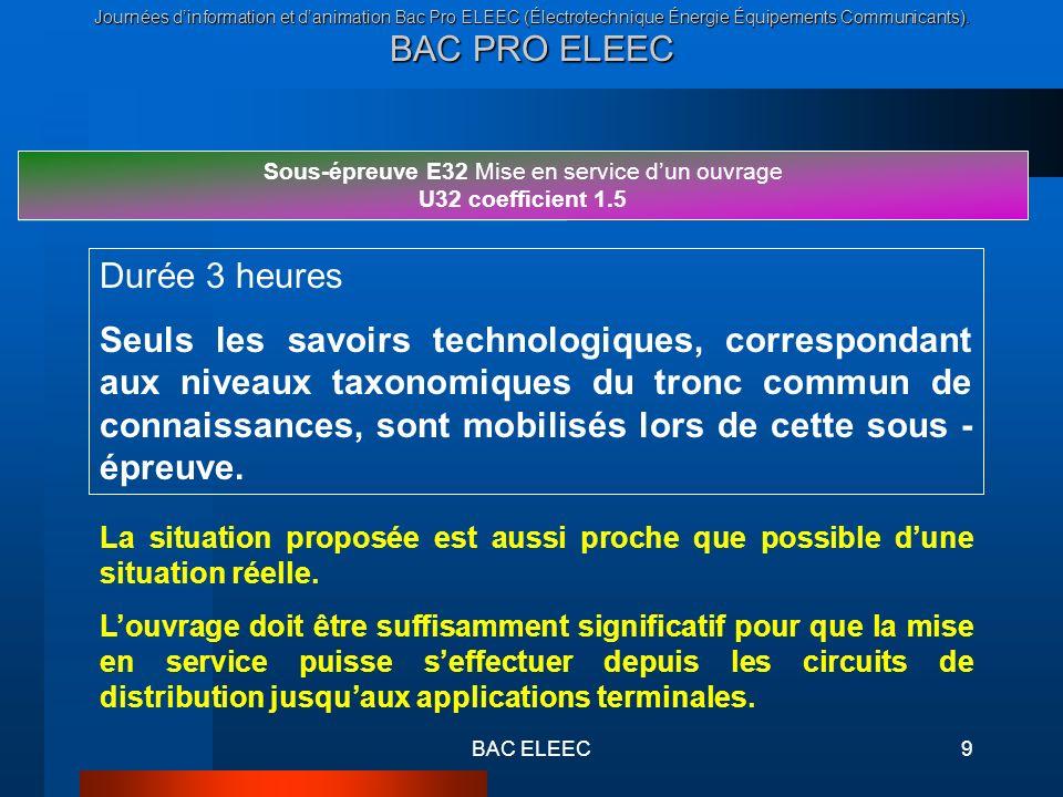 Journées dinformation et danimation Bac Pro ELEEC (Électrotechnique Énergie Équipements Communicants). BAC PRO ELEEC BAC ELEEC9 Sous-épreuve E32 Mise