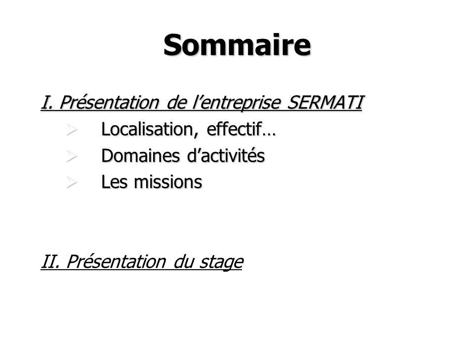 Sommaire I. Présentation de lentreprise SERMATI Localisation, effectif… Localisation, effectif… Domaines dactivités Domaines dactivités Les missions L