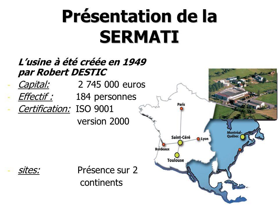 Présentation de la SERMATI -Lusine à été créée en 1949 par Robert DESTIC - - Capital: 2 745 000 euros - - Effectif : 184 personnes - - Certification: