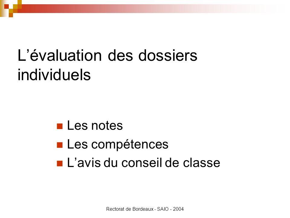 Rectorat de Bordeaux - SAIO - 2004 Lévaluation des dossiers individuels Les notes Les compétences Lavis du conseil de classe