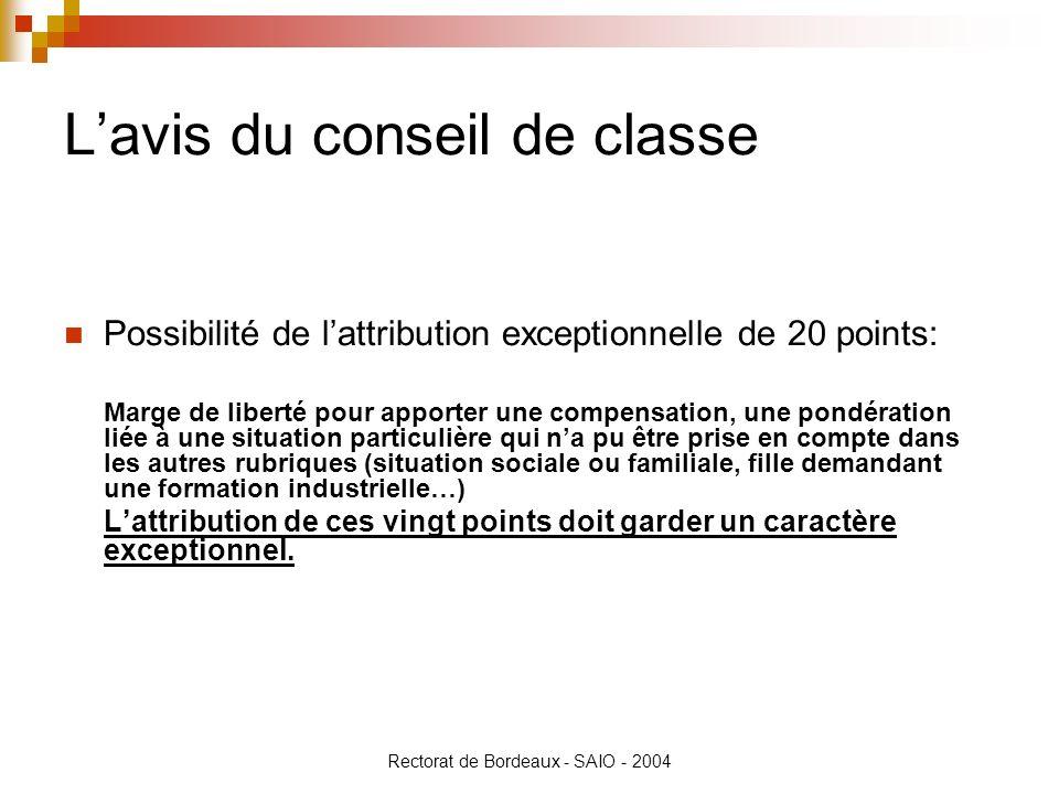 Rectorat de Bordeaux - SAIO - 2004 Lavis du conseil de classe Possibilité de lattribution exceptionnelle de 20 points: Marge de liberté pour apporter