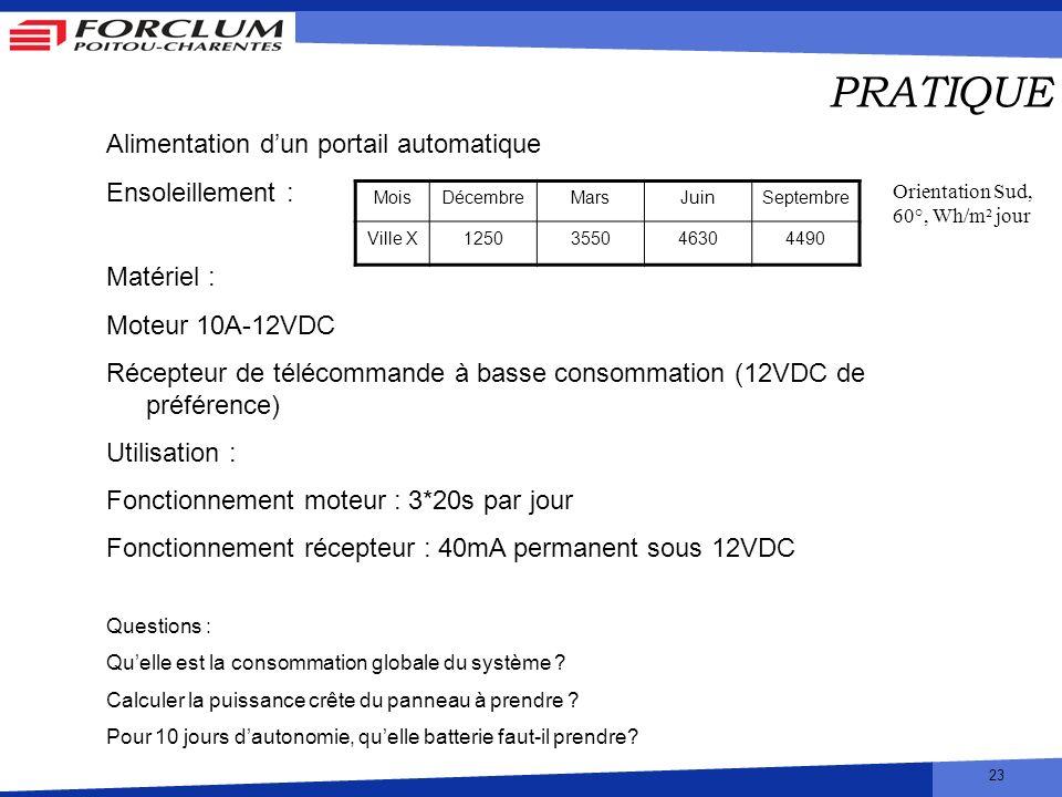 23 PRATIQUE Alimentation dun portail automatique Ensoleillement : Matériel : Moteur 10A-12VDC Récepteur de télécommande à basse consommation (12VDC de