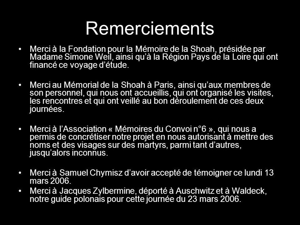 Remerciements Merci à la Fondation pour la Mémoire de la Shoah, présidée par Madame Simone Weil, ainsi quà la Région Pays de la Loire qui ont financé