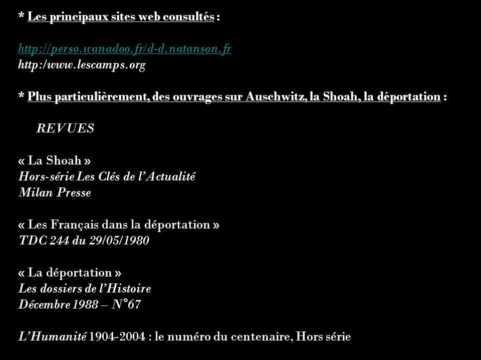 * Les principaux sites web consultés : http://perso.wanadoo.fr/d-d.natanson.fr http:/www.lescamps.org * Plus particulièrement, des ouvrages sur Auschw