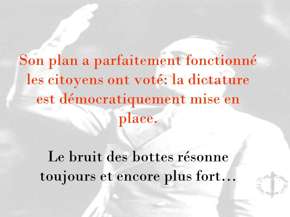 Son plan a parfaitement fonctionné les citoyens ont voté: la dictature est démocratiquement mise en place. Le bruit des bottes résonne toujours et enc