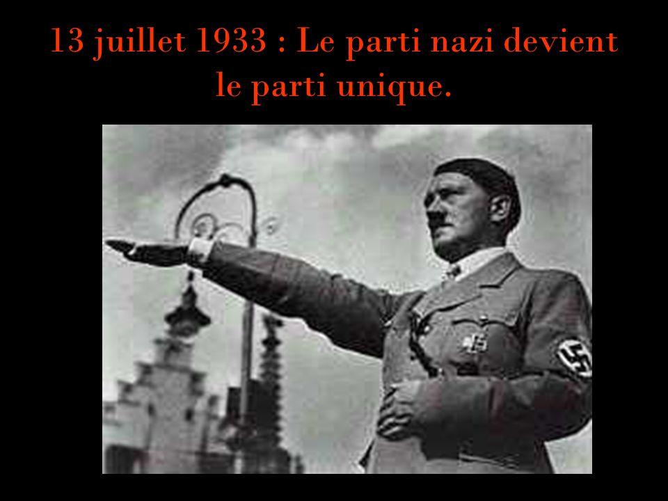 13 juillet 1933 : Le parti nazi devient le parti unique.