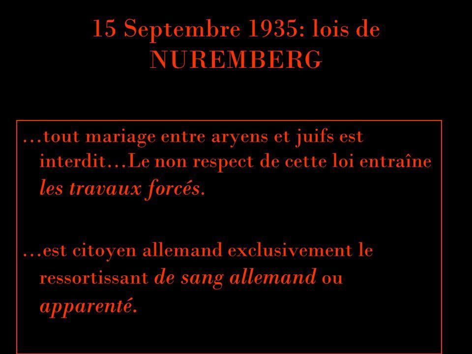 15 Septembre 1935: lois de NUREMBERG …tout mariage entre aryens et juifs est interdit…Le non respect de cette loi entraîne les travaux forcés. …est ci