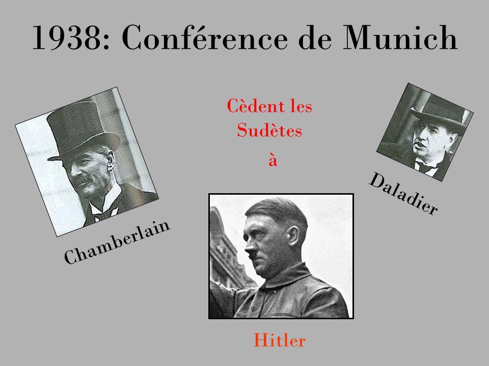 1938: Conférence de Munich Chamberlain Hitler Daladier Cèdent les Sudètes à