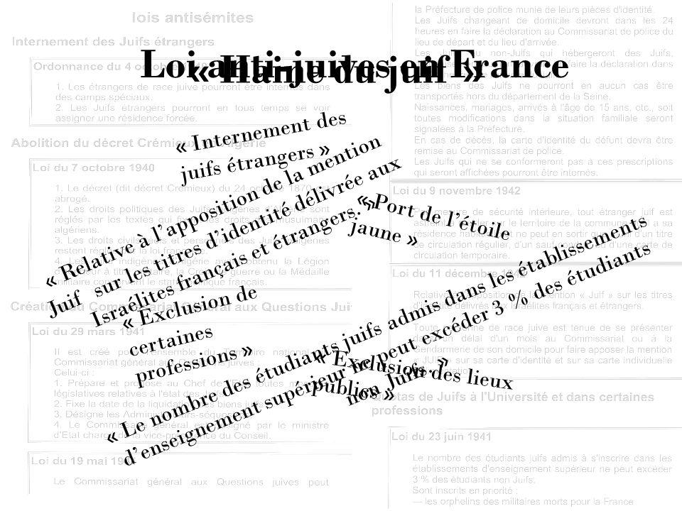 Loi anti-juives en France « Relative à lapposition de la mention Juif sur les titres didentité délivrée aux Israélites français et étrangers. » « Le n