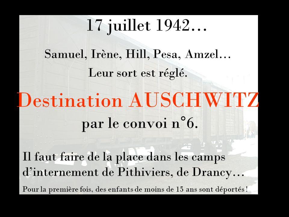 Destination AUSCHWITZ par le convoi n°6. Samuel, Irène, Hill, Pesa, Amzel… Leur sort est réglé. Il faut faire de la place dans les camps dinternement