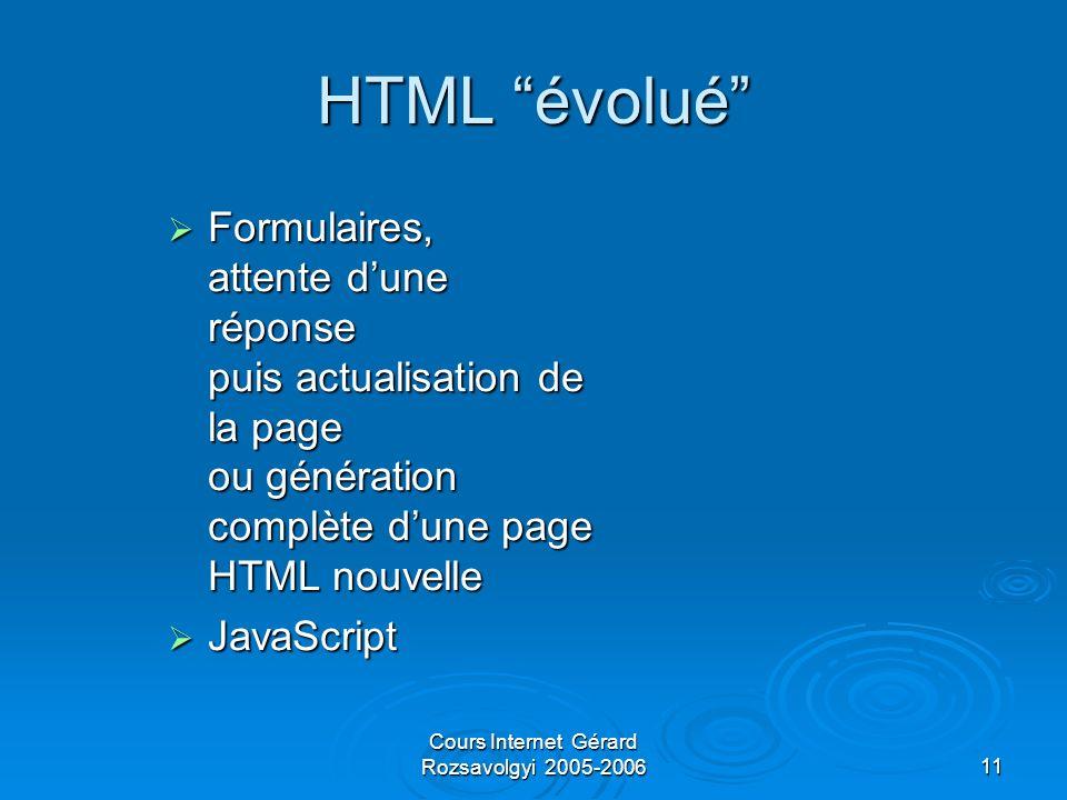 Cours Internet Gérard Rozsavolgyi 2005-200611 HTML évolué Formulaires, attente dune réponse puis actualisation de la page ou génération complète dune page HTML nouvelle Formulaires, attente dune réponse puis actualisation de la page ou génération complète dune page HTML nouvelle JavaScript JavaScript