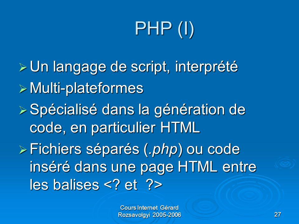 Cours Internet Gérard Rozsavolgyi 2005-200627 PHP (I) Un langage de script, interprété Un langage de script, interprété Multi-plateformes Multi-plateformes Spécialisé dans la génération de code, en particulier HTML Spécialisé dans la génération de code, en particulier HTML Fichiers séparés (.php) ou code inséré dans une page HTML entre les balises Fichiers séparés (.php) ou code inséré dans une page HTML entre les balises