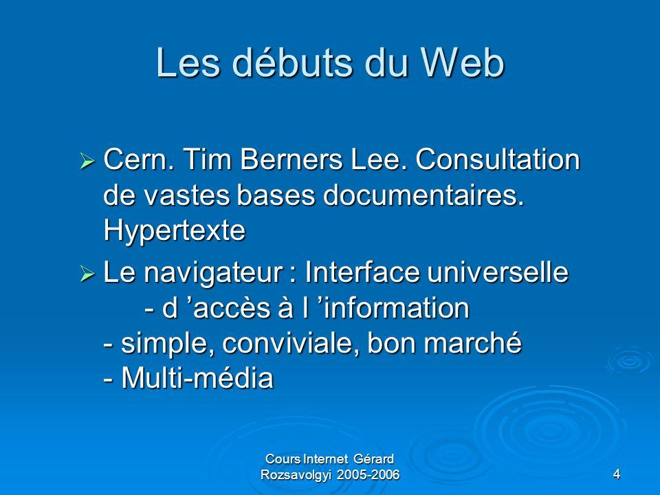 Cours Internet Gérard Rozsavolgyi 2005-200635 Extensions et évolution future LAPI Servlet est déstinée à être facilement extensible LAPI Servlet est déstinée à être facilement extensible On peut générer complètement une page Web à laide dune servlet On peut générer complètement une page Web à laide dune servlet On peut ajouter des SSI (Server Side Include) a une page statique à laide du tag On peut ajouter des SSI (Server Side Include) a une page statique à laide du tag Sun développe une technique semblable aux ASP de Microsoft appelée JavaServerPages Sun développe une technique semblable aux ASP de Microsoft appelée JavaServerPages