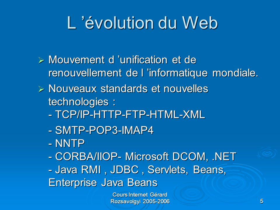 Cours Internet Gérard Rozsavolgyi 2005-200616 Principaux serveurs Web Apache (Version 1.3.x ou 2.0 ), souvent associé à Unix, beaucoup de modules disponibles Apache (Version 1.3.x ou 2.0 ), souvent associé à Unix, beaucoup de modules disponibles IIS : le serveur Web professionnel de Microsoft.