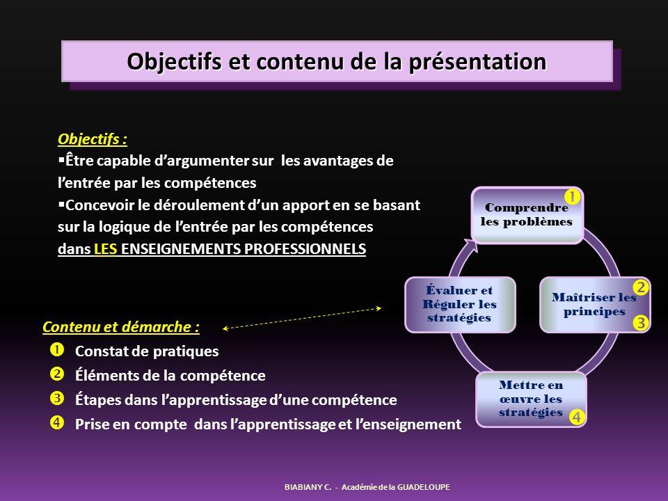 Objectifs et contenu de la présentation BIABIANY C. - Académie de la GUADELOUPE Contenu et démarche : Constat de pratiques Éléments de la compétence É