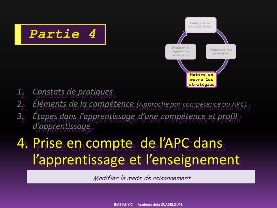 1.Constats de pratiques 2.Éléments de la compétence (Approche par compétence ou APC) 3.Étapes dans lapprentissage dune compétence et profil dapprentis